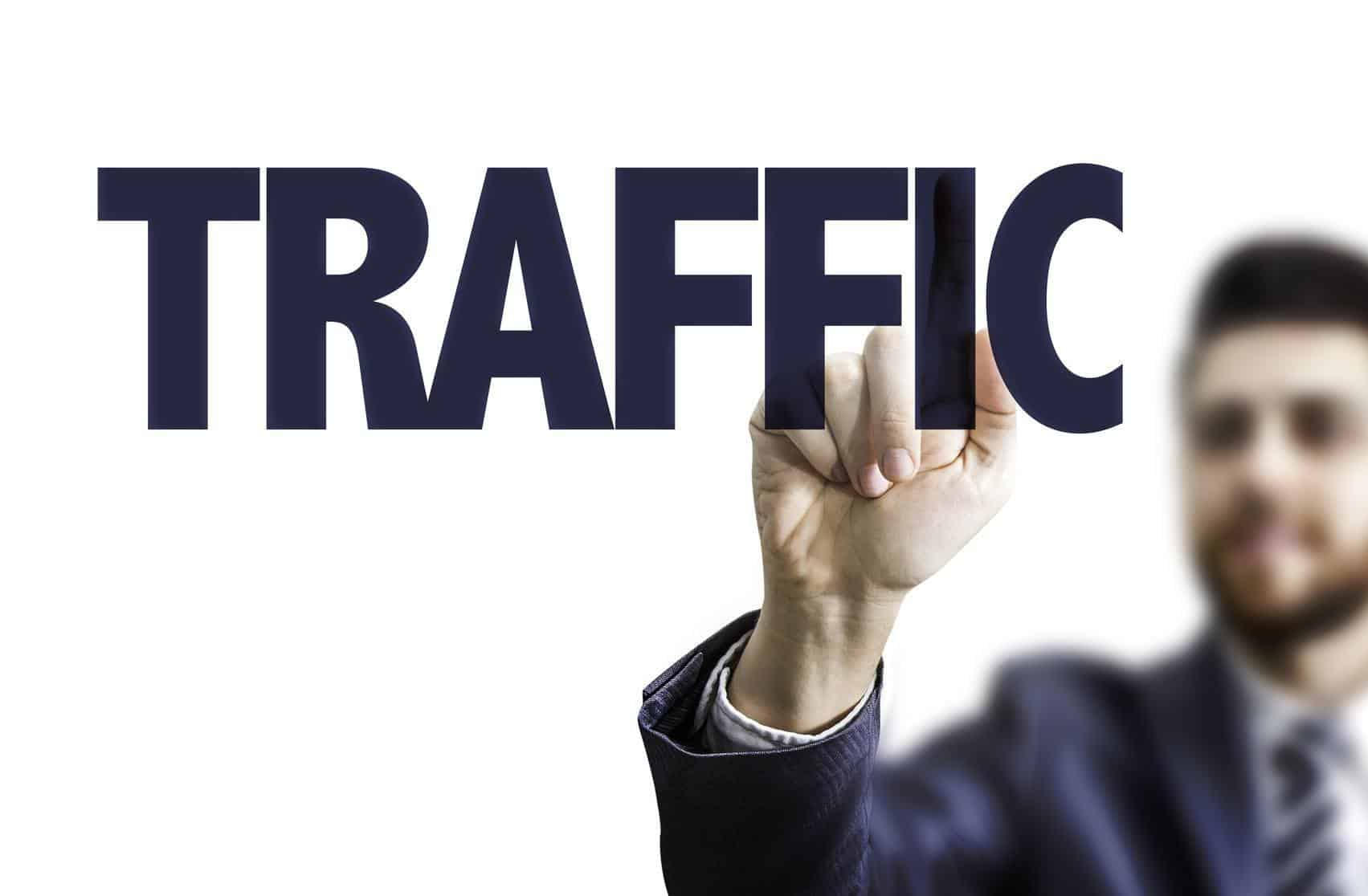 Business man pointing the text: Traffic